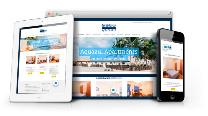 aquazul apartments website web design agency aruba