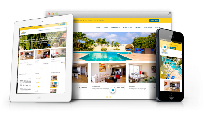 vacation rental website professional web designer aruba